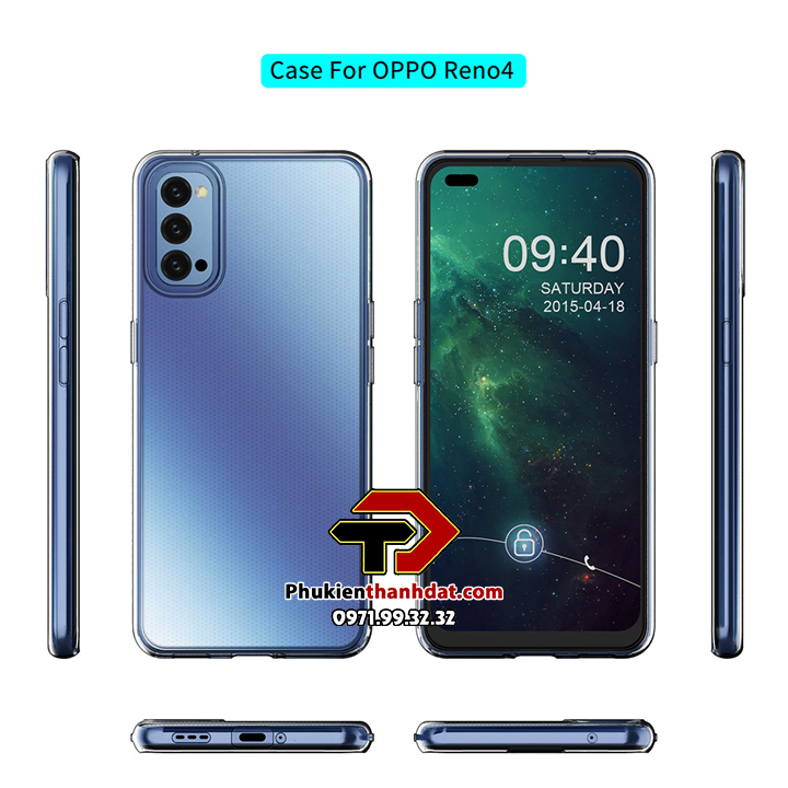 Ốp lưng silicone dẻo trong suốt OPPO Reno4 5G