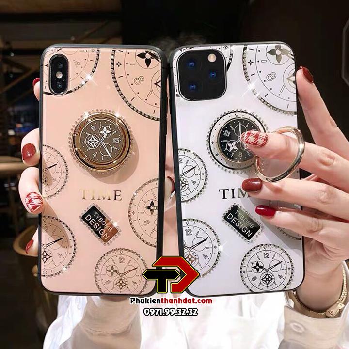 Ốp lưng kính iPhone 11 Pro Max hiệu TYBOMB Time đính đá cao cấp