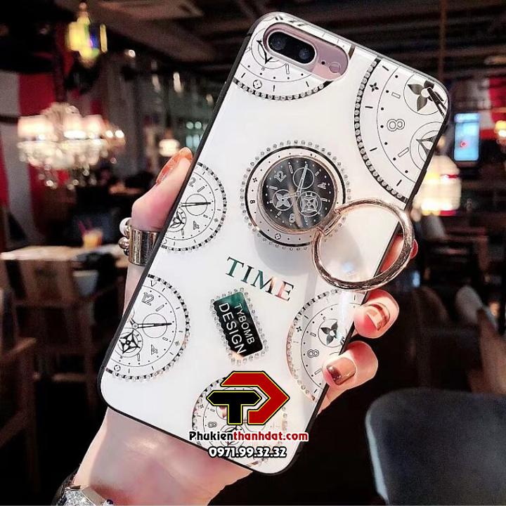 Ốp lưng kính iPhone 7 Plus hiệu TYBOMB Time đính đá cao cấp