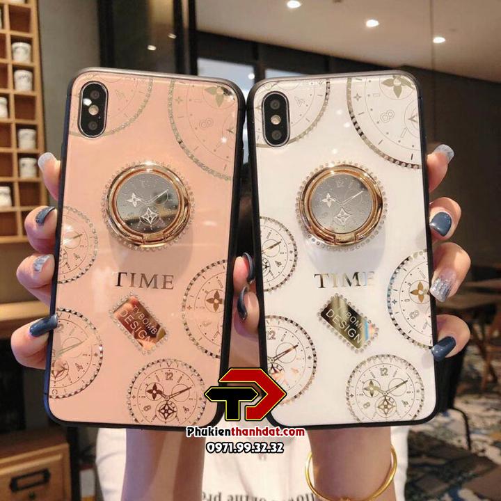 Ốp lưng kính iPhone XS Max hiệu TYBOMB Time đính đá cao cấp