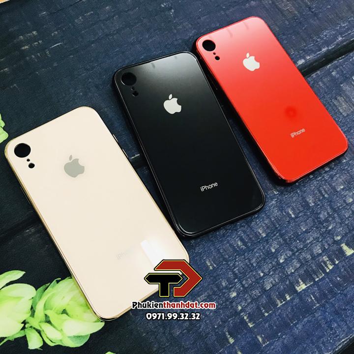 Ốp lưng iPhone XR lưng kính viền màu TPU dẻo
