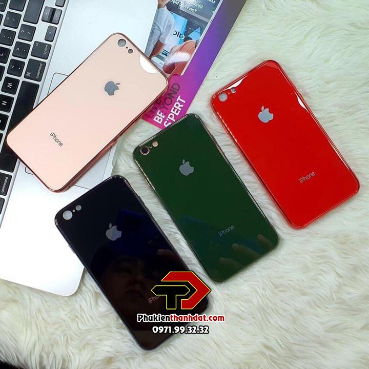 Ốp lưng iPhone 6, 6s lưng kính viền màu TPU dẻo