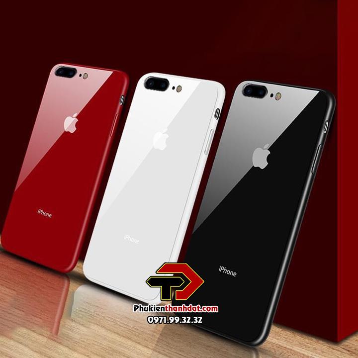 Ốp lưng iPhone 7 Plus lưng kính viền màu TPU dẻo