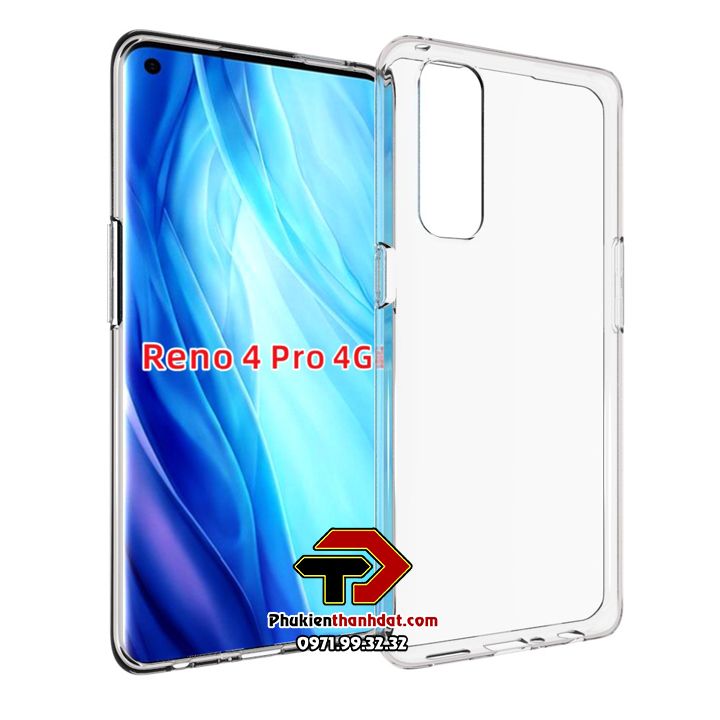 Ốp lưng silicone dẻo trong suốt OPPO Reno4 Pro